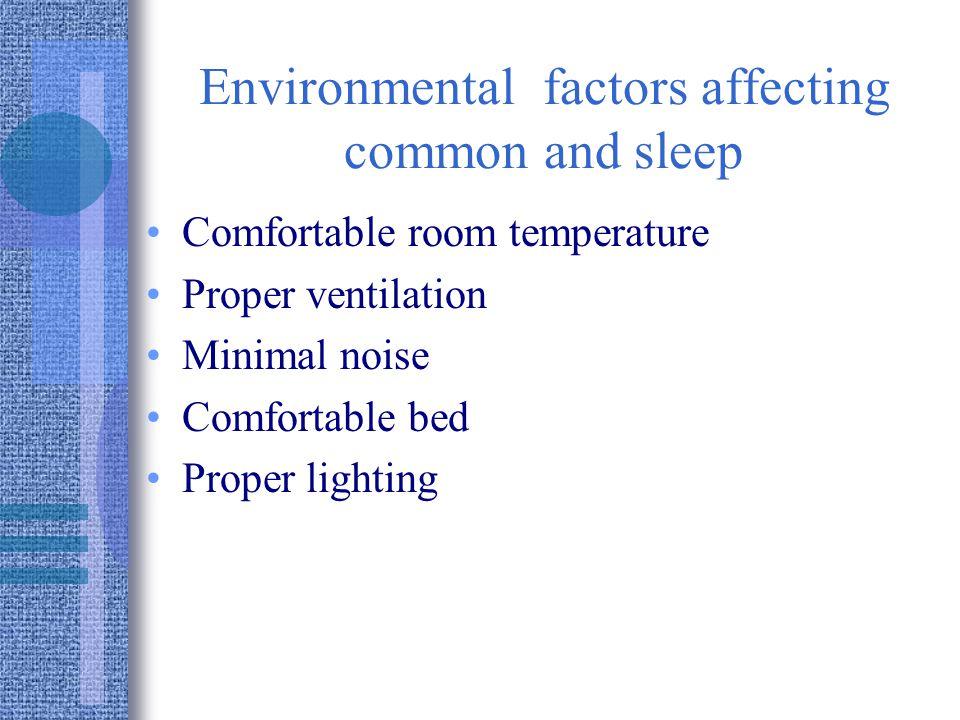 Environmental factors affecting common and sleep Comfortable room temperature Proper ventilation Minimal noise Comfortable bed Proper lighting