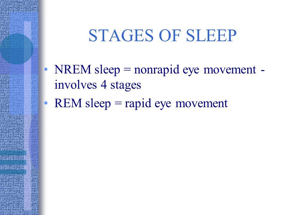 STAGES OF SLEEP NREM sleep = nonrapid eye movement - involves 4 stages REM sleep = rapid eye movement