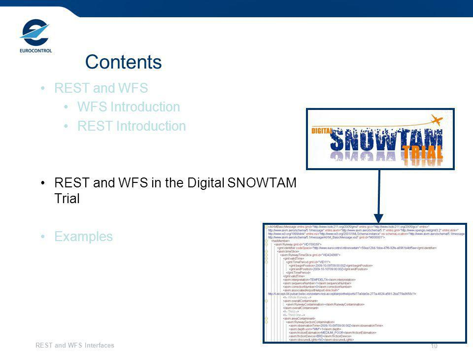 REST and WFS Interfaces 10 Contents REST and WFS WFS Introduction REST Introduction REST and WFS in the Digital SNOWTAM Trial Examples