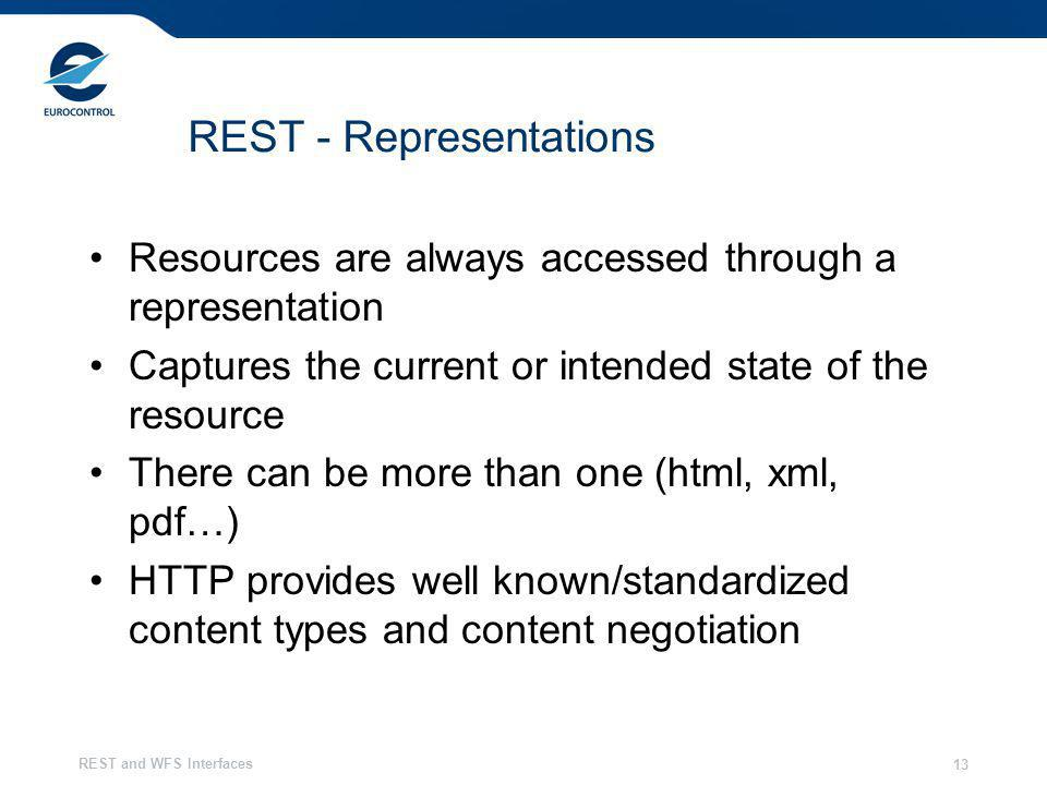 REST and WFS Interfaces 13 REST - Representations Resources are always accessed through a representation Captures the current or intended state of the resource There can be more than one (html, xml, pdf…) HTTP provides well known/standardized content types and content negotiation
