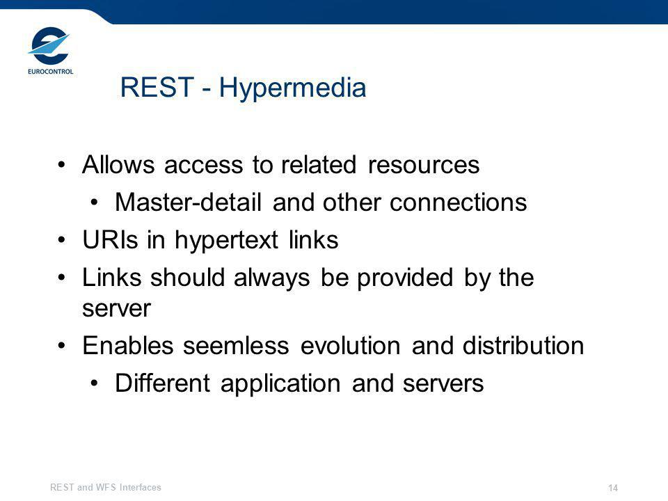 REST and WFS Interfaces 14 REST - Hypermedia Allows access to related resources Master-detail and other connections URIs in hypertext links Links should always be provided by the server Enables seemless evolution and distribution Different application and servers