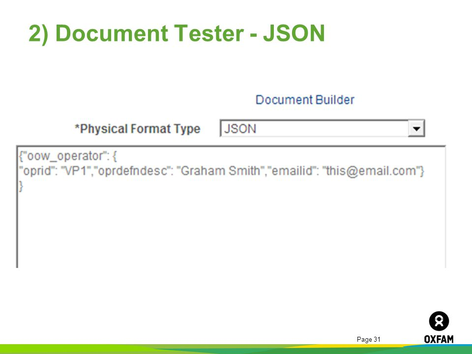Page 31 2) Document Tester - JSON