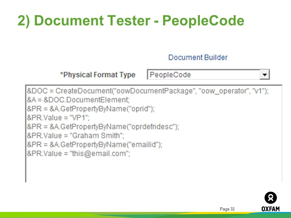 Page 32 2) Document Tester - PeopleCode