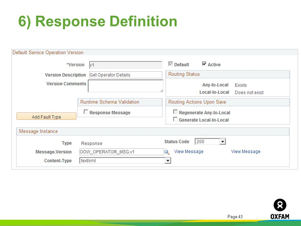 Page 43 6) Response Definition