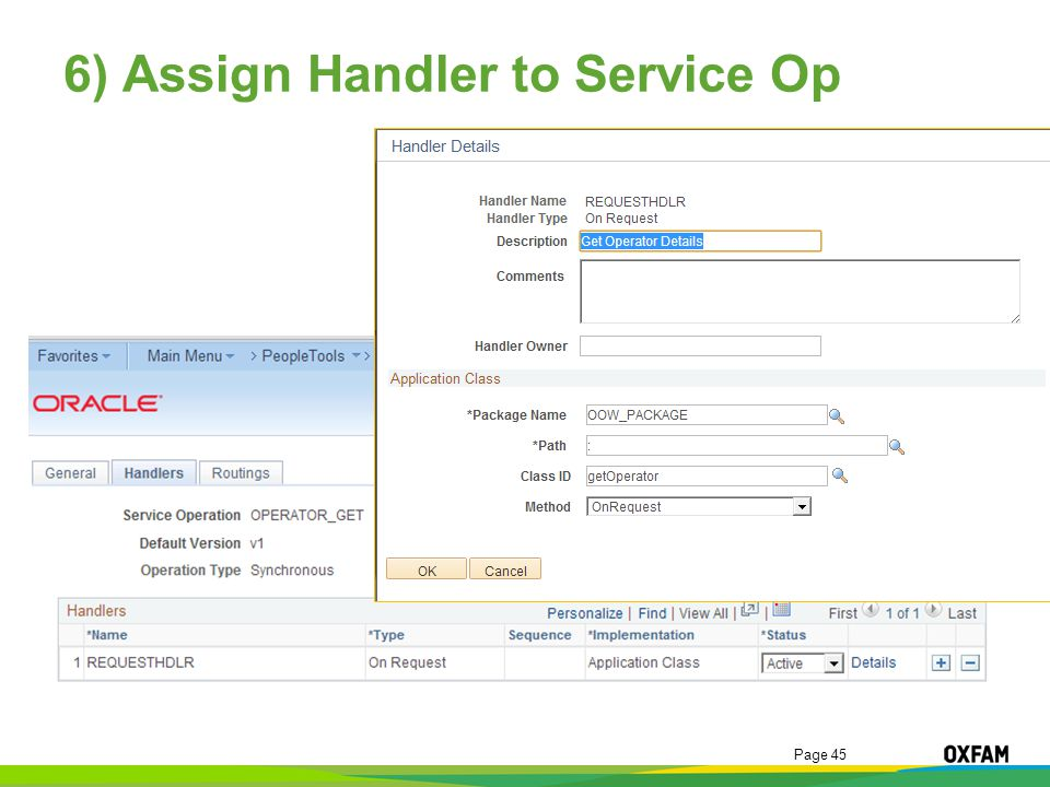 Page 45 6) Assign Handler to Service Op