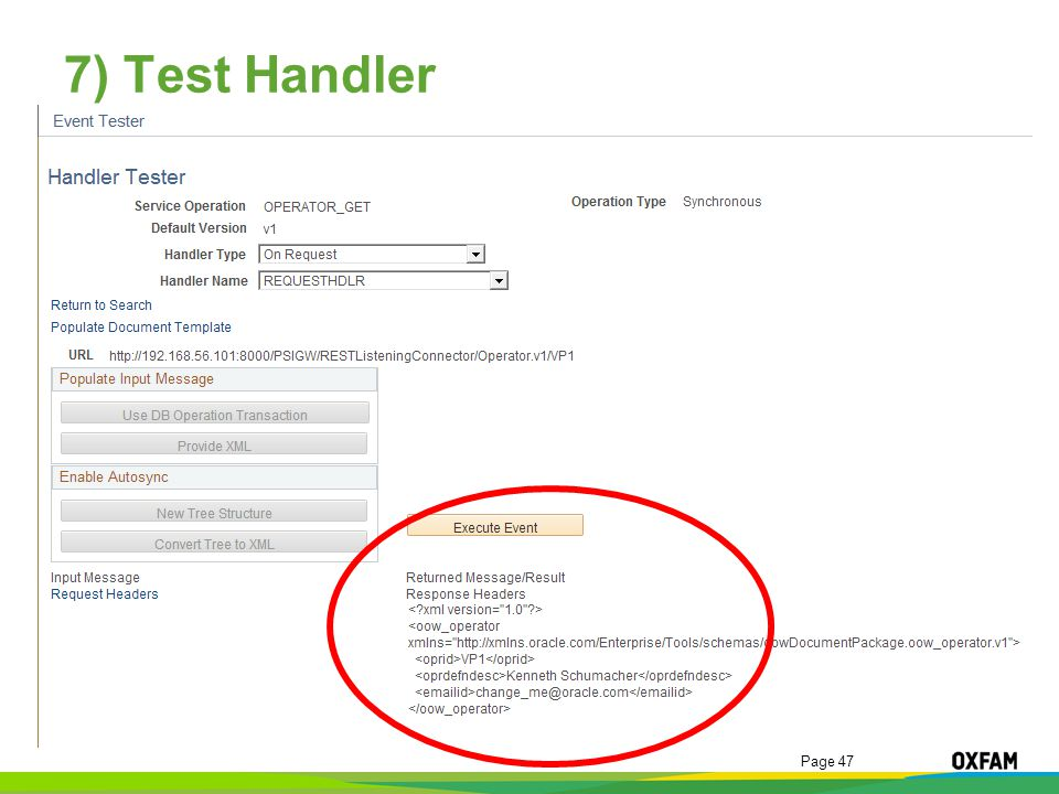 Page 47 7) Test Handler