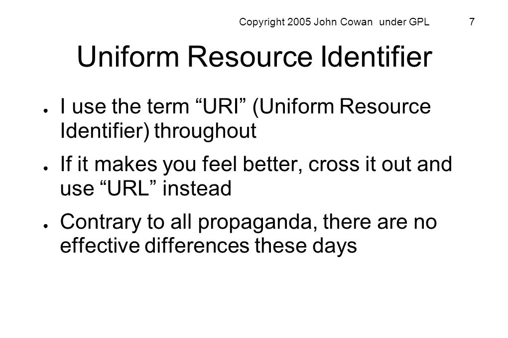 Copyright 2005 John Cowan under GPL 48 But in fact: There are no applications you can think of which cannot be made to fit into the GET / PUT / POST / DELETE resources / representations model of the world.