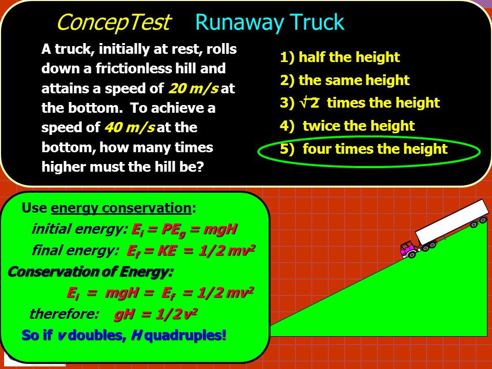 ConcepTest Runaway Truck A truck, initially at rest, rolls down a frictionless hill and attains a speed of 20 m/s at the bottom.