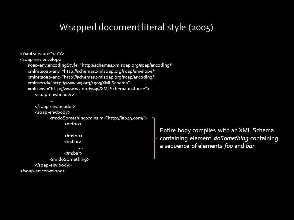 Wrapped document literal style (2005) <soap-env:envelope soap-env:encodingStyle=