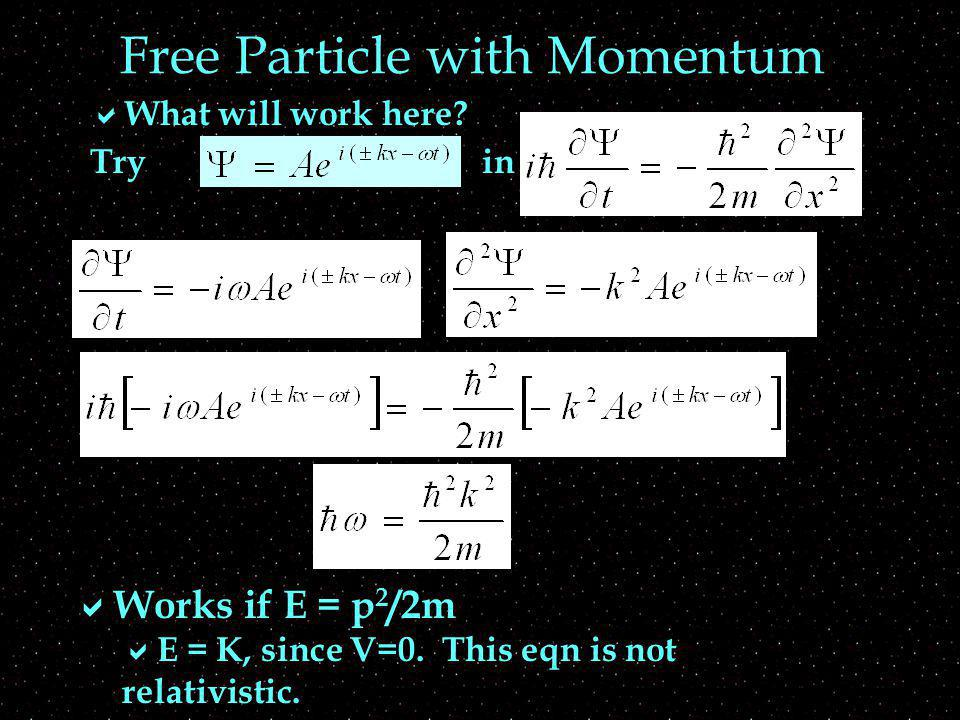 Free Particle with Momentum What will work here. Tryin Works if E = p 2 /2m E = K, since V=0.