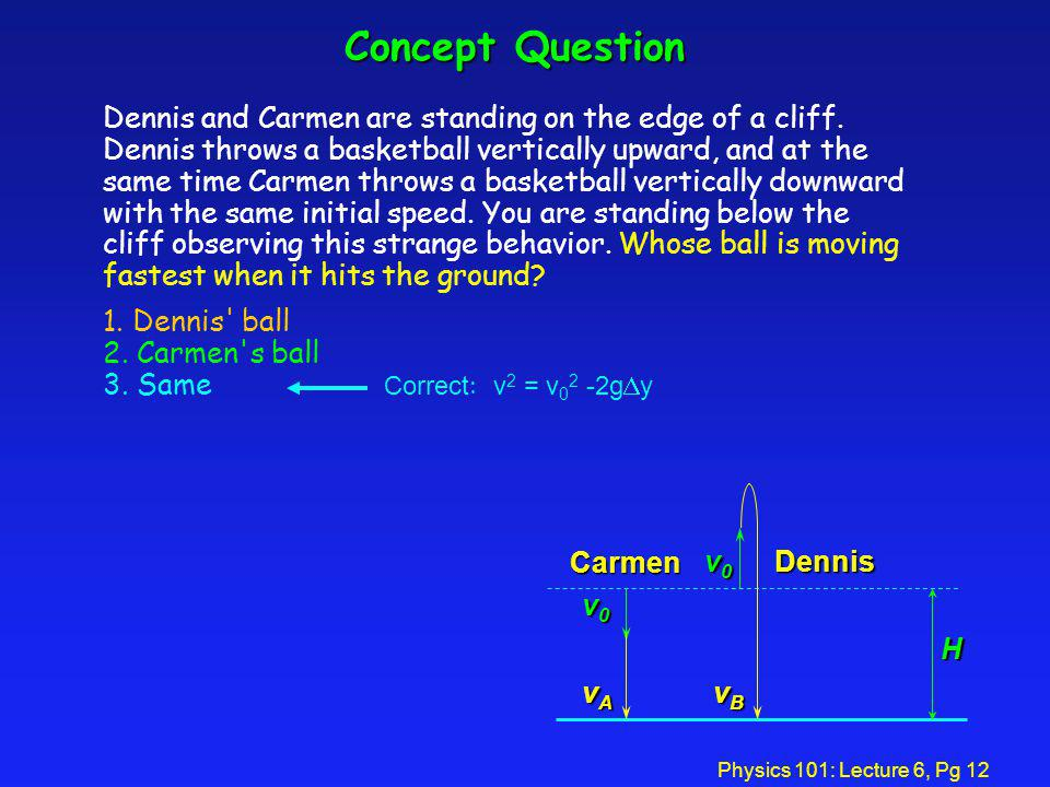 Physics 101: Lecture 6, Pg 12 Dennis and Carmen are standing on the edge of a cliff. Dennis throws a basketball vertically upward, and at the same tim