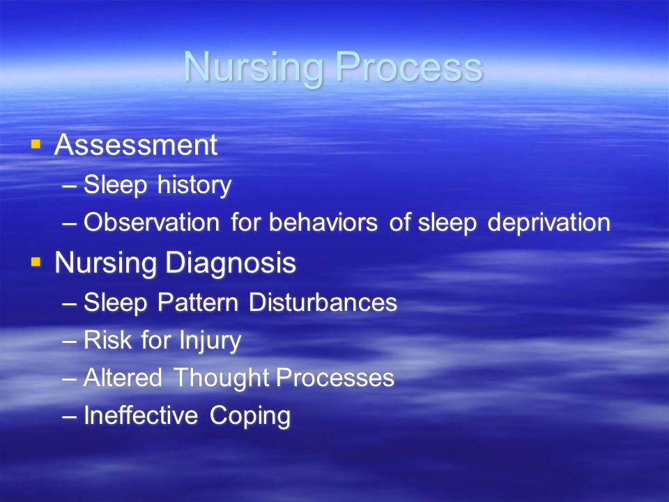 Nursing Process Assessment –Sleep history –Observation for behaviors of sleep deprivation Nursing Diagnosis –Sleep Pattern Disturbances –Risk for Inju