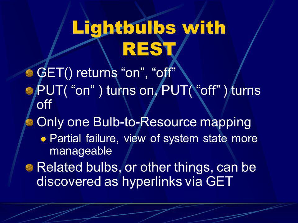 Lightbulbs with REST GET() returns on, off PUT( on ) turns on, PUT( off ) turns off Only one Bulb-to-Resource mapping Partial failure, view of system