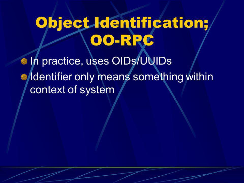 Object Identification; OO-RPC In practice, uses OIDs/UUIDs Identifier only means something within context of system