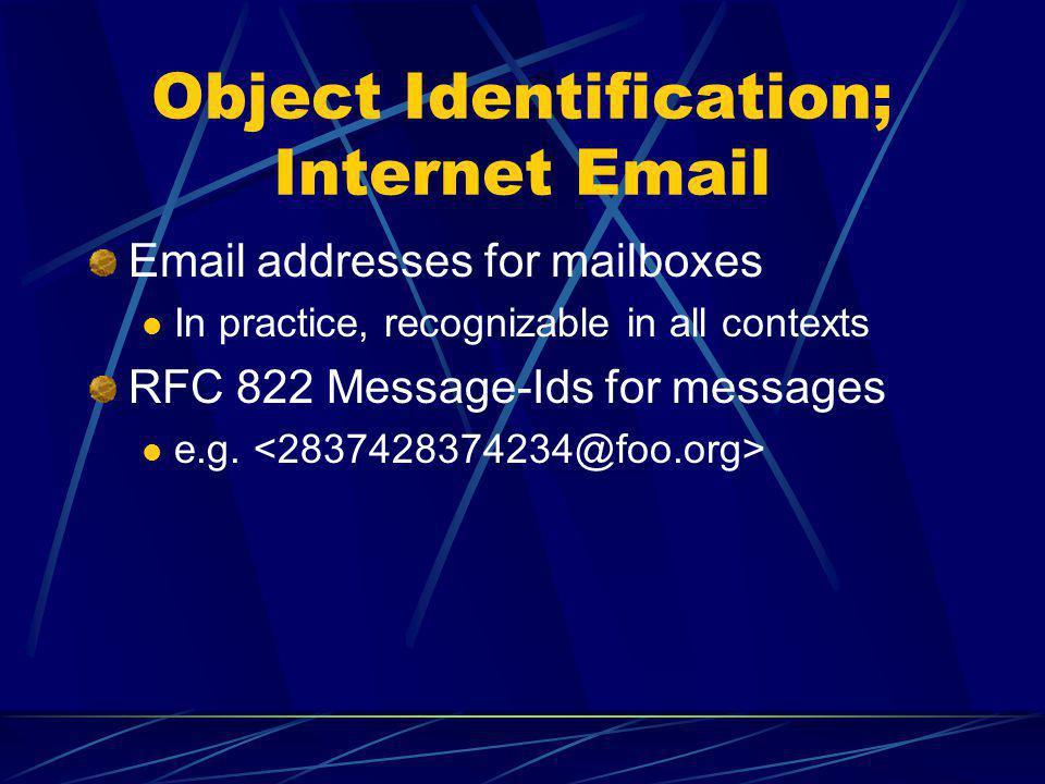Object Identification; Internet Email Email addresses for mailboxes In practice, recognizable in all contexts RFC 822 Message-Ids for messages e.g.