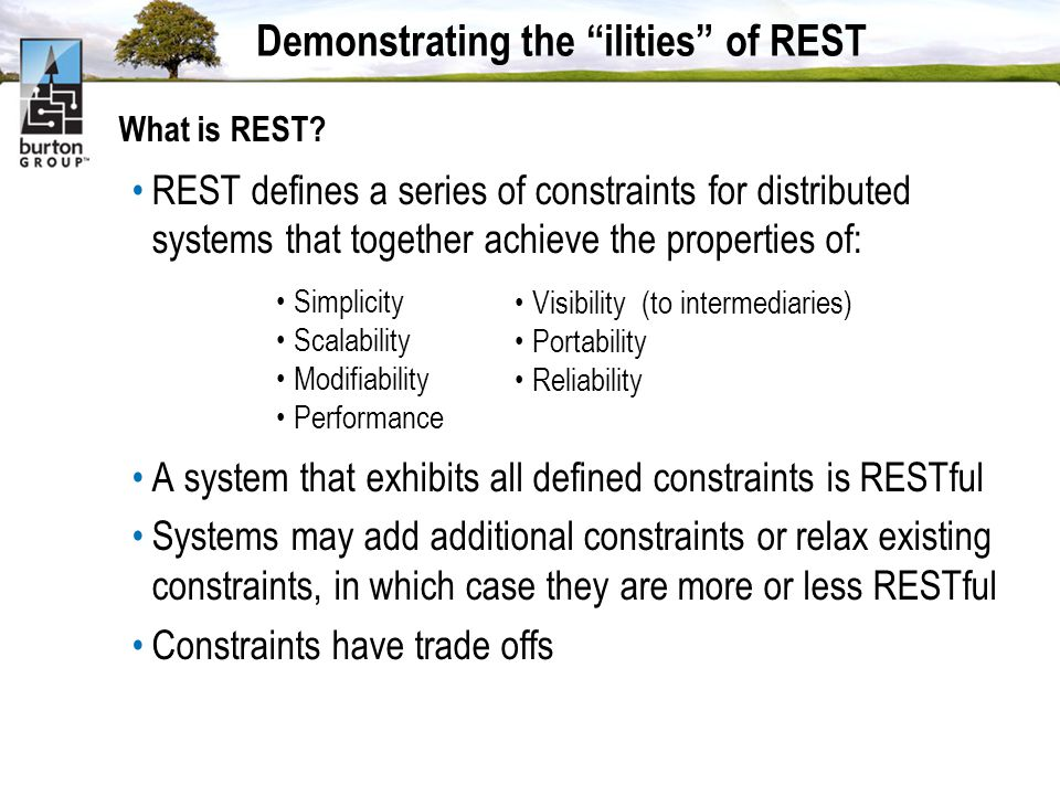 Demonstrating the ilities of REST What is REST.