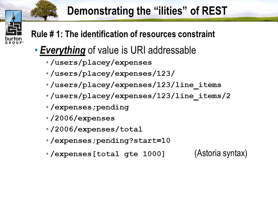 Demonstrating the ilities of REST Rule # 1: The identification of resources constraint Everything of value is URI addressable /users/placey/expenses /users/placey/expenses/123/ /users/placey/expenses/123/line_items /users/placey/expenses/123/line_items/2 /expenses;pending /2006/expenses /2006/expenses/total /expenses;pending start=10 /expenses[total gte 1000] (Astoria syntax)