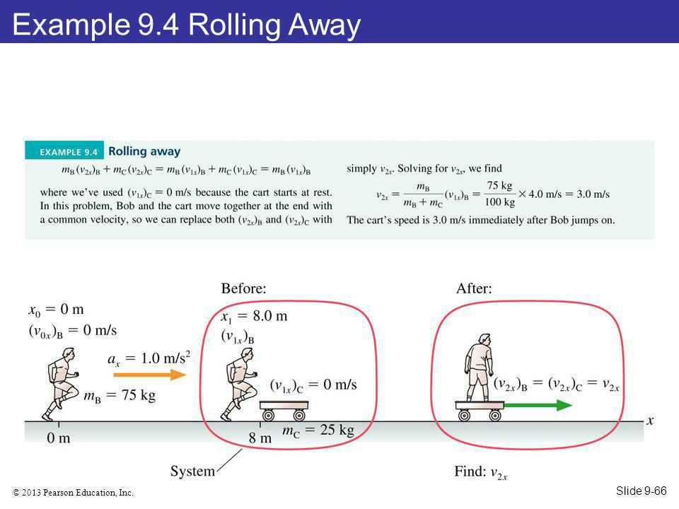 © 2013 Pearson Education, Inc. Example 9.4 Rolling Away Slide 9-66