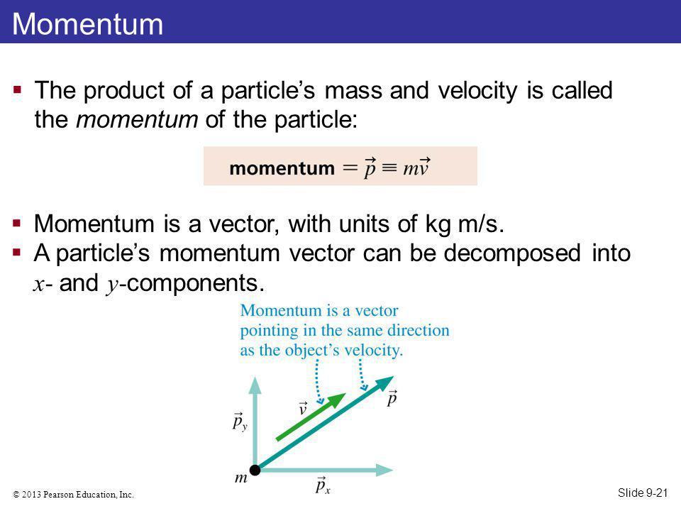 © 2013 Pearson Education, Inc. Momentum The product of a particles mass and velocity is called the momentum of the particle: Momentum is a vector, wit
