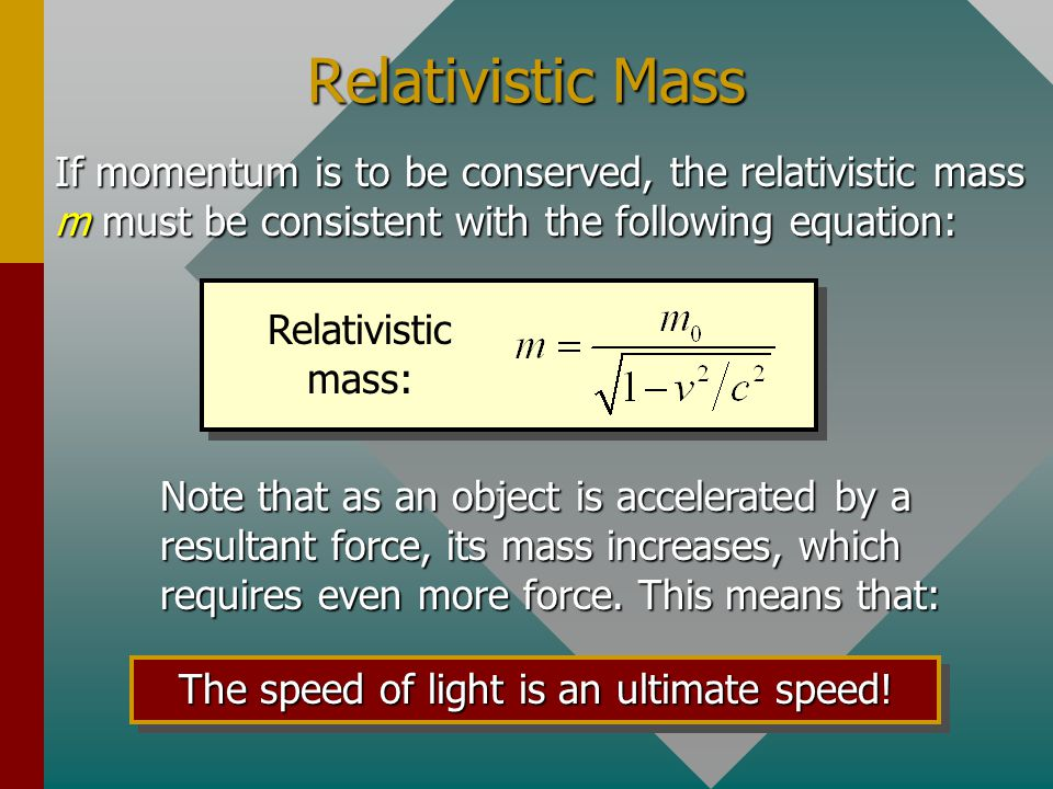 Relativistic Momentum The basic conservation laws for momentum and energy can not be violated due to relativity. Newtons equation for momentum (mv) mu