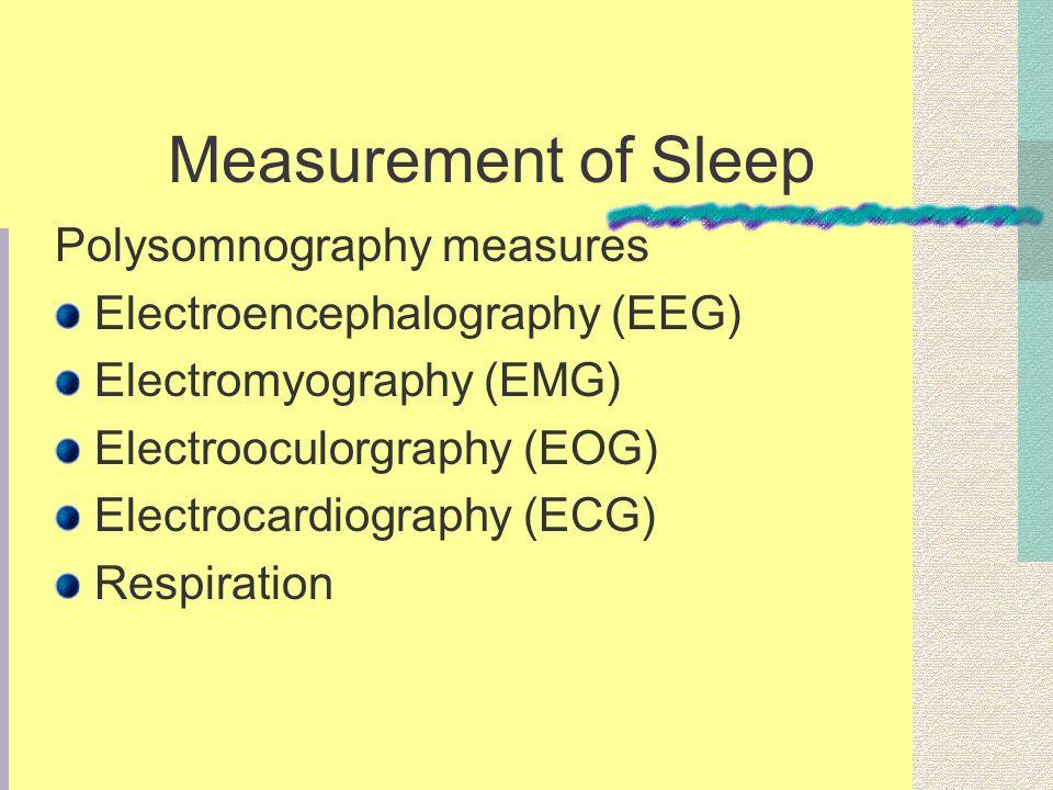Measurement of Sleep Polysomnography measures Electroencephalography (EEG) Electromyography (EMG) Electrooculorgraphy (EOG) Electrocardiography (ECG) Respiration