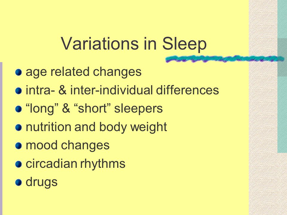 Variations in Sleep age related changes intra- & inter-individual differences long & short sleepers nutrition and body weight mood changes circadian r