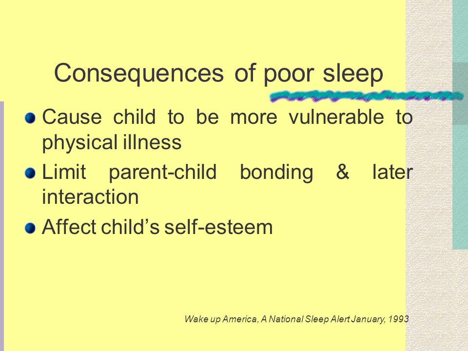 Consequences of poor sleep Cause child to be more vulnerable to physical illness Limit parent-child bonding & later interaction Affect childs self-esteem Wake up America, A National Sleep Alert January, 1993