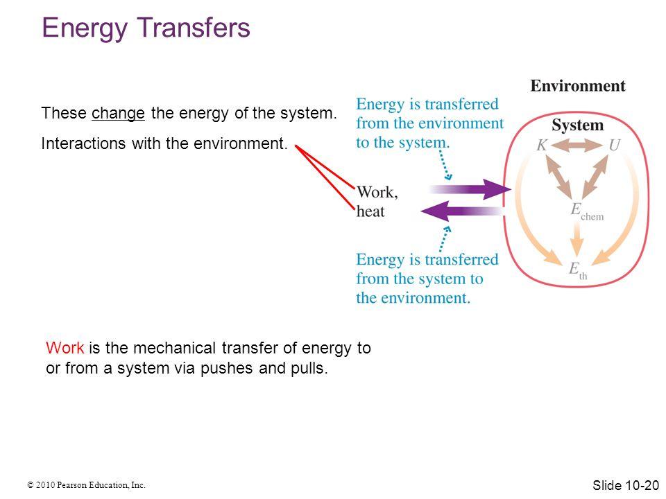 © 2010 Pearson Education, Inc. Energy Transfers: Work W K W E th W U s Slide 10-21