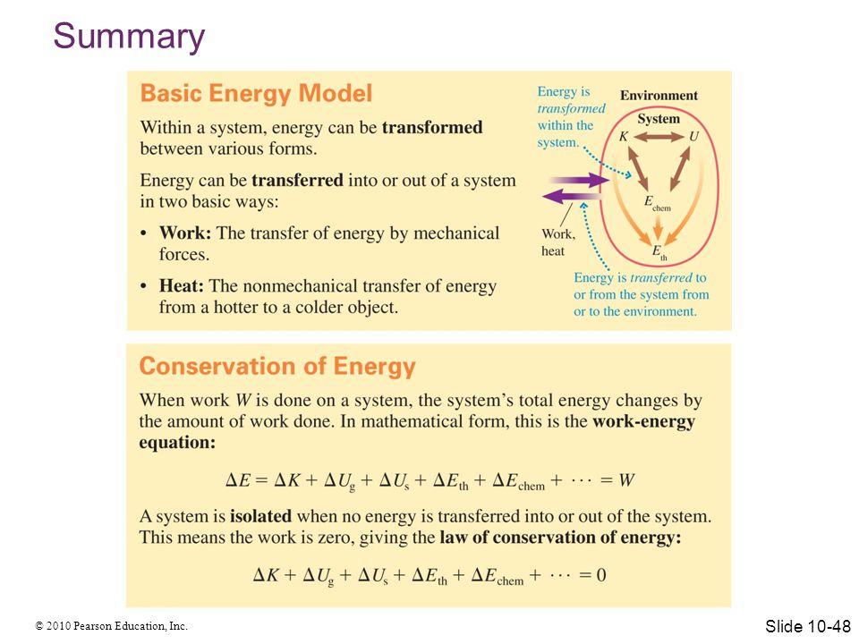 © 2010 Pearson Education, Inc. Summary Slide 10-49