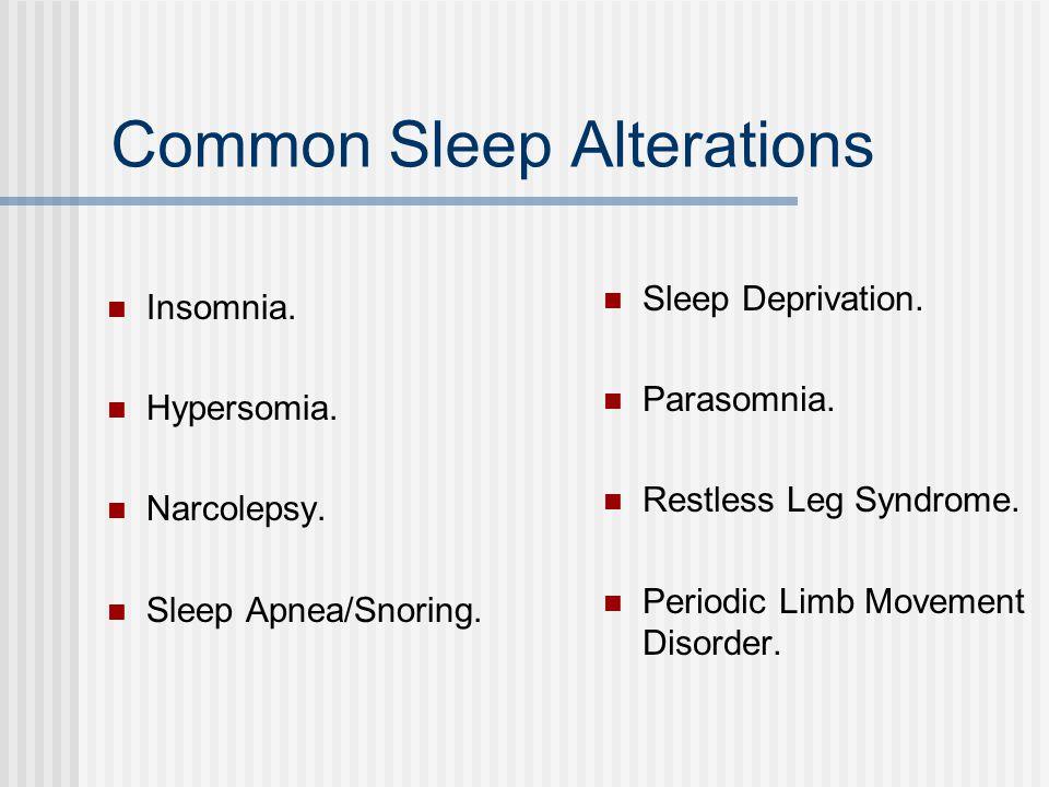 Common Sleep Alterations Insomnia. Hypersomia. Narcolepsy.