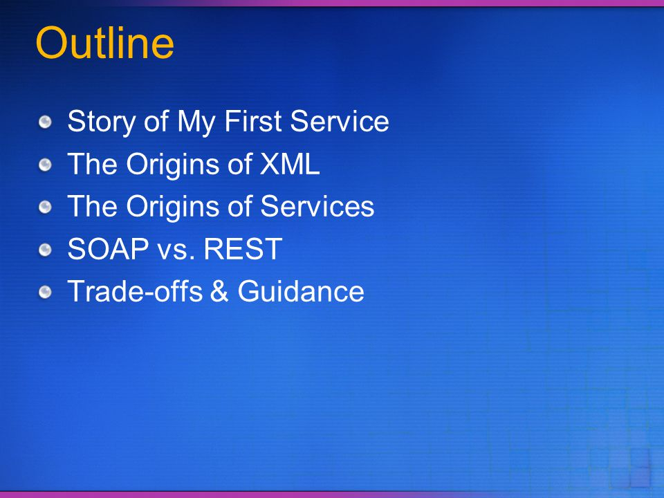Story of My First Service Our Application ASCEND 97 Partner Systems
