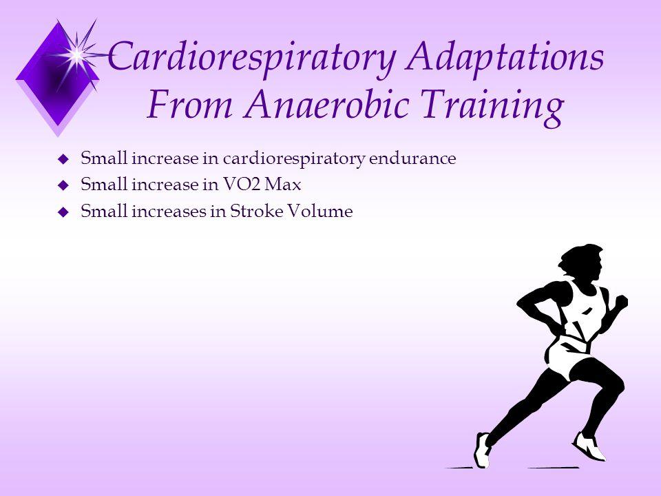 Cardiorespiratory Adaptations From Anaerobic Training u Small increase in cardiorespiratory endurance u Small increase in VO2 Max u Small increases in