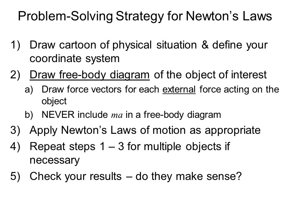 Problem-Solving Strategy for Newtons Laws 1)Draw cartoon of physical situation & define your coordinate system 2)Draw free-body diagram of the object