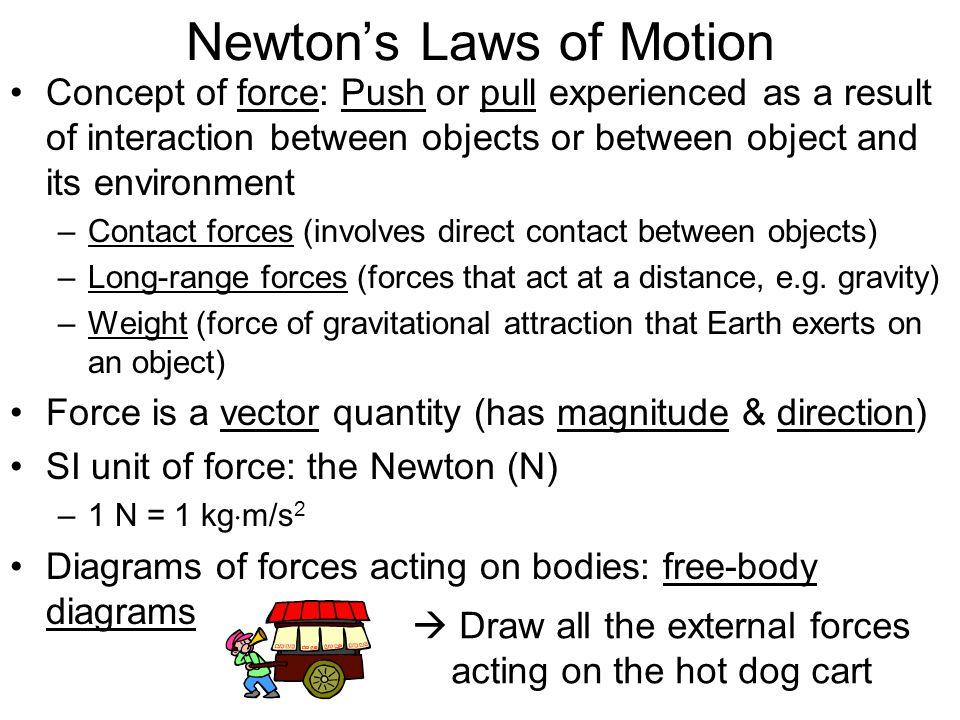 Newtons Laws of Motion Free-body diagram for the hot dog cart (neglecting friction): Effect of all 3 forces acting on the cart same as effect of a single force equal to vector sum of individual forces –Total (net) force = vector sum of individual forces = –So –Since cart does not move up or down, sum of vertical forces must be zero (same effect as no vertical forces): Normal force ( to surface of contact) Pulling force Weight of cart (in this case)