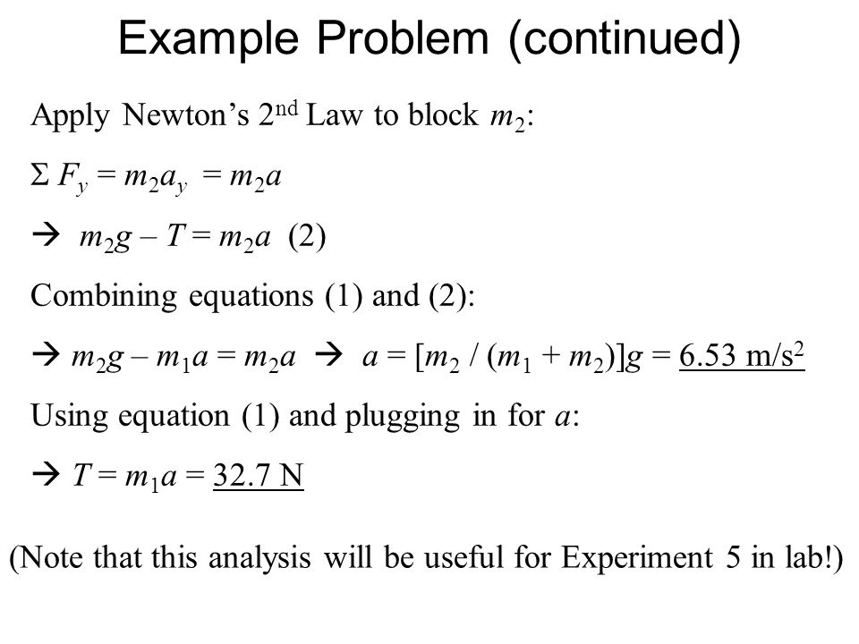Example Problem (continued) Apply Newtons 2 nd Law to block m 2 : F y = m 2 a y = m 2 a m 2 g – T = m 2 a (2) Combining equations (1) and (2): m 2 g –