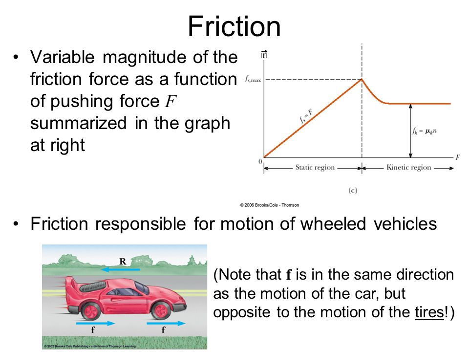 Friction Variable magnitude of the friction force as a function of pushing force F summarized in the graph at right Friction responsible for motion of