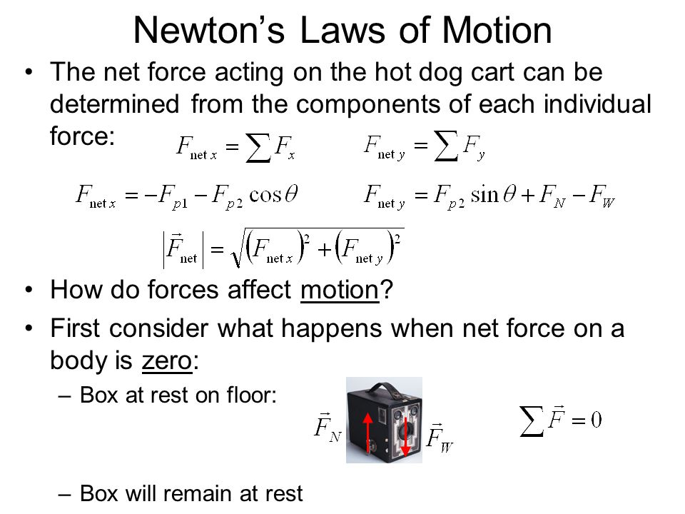 Newtons Laws of Motion –Box sliding along freshly waxed floor: – v will remain constant (a = 0) if there is no friction between box and floor (approximately true for a slick floor) –No force is needed to keep box sliding once it has started moving (it would slow down and stop only if friction, another force, were present) Newtons 1 st Law of Motion: A body with zero net force acting on it moves with constant velocity (which may be zero) and zero acceleration –Its the net force that matters in Newtons 1 st Law v = const.