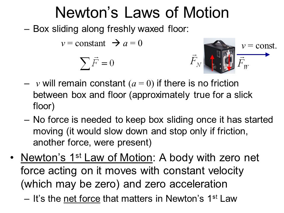 Newtons Laws of Motion –Box sliding along freshly waxed floor: – v will remain constant (a = 0) if there is no friction between box and floor (approxi