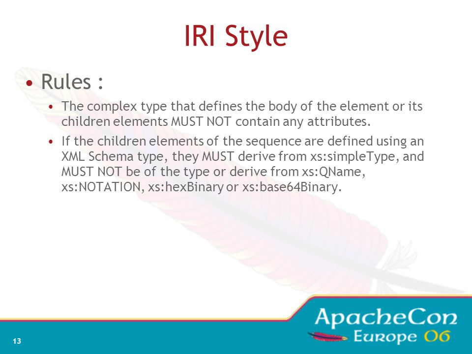 13 IRI Style Rules : The complex type that defines the body of the element or its children elements MUST NOT contain any attributes. If the children e