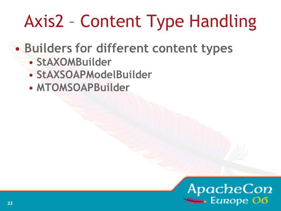 23 Axis2 – Content Type Handling Builders for different content types StAXOMBuilder StAXSOAPModelBuilder MTOMSOAPBuilder