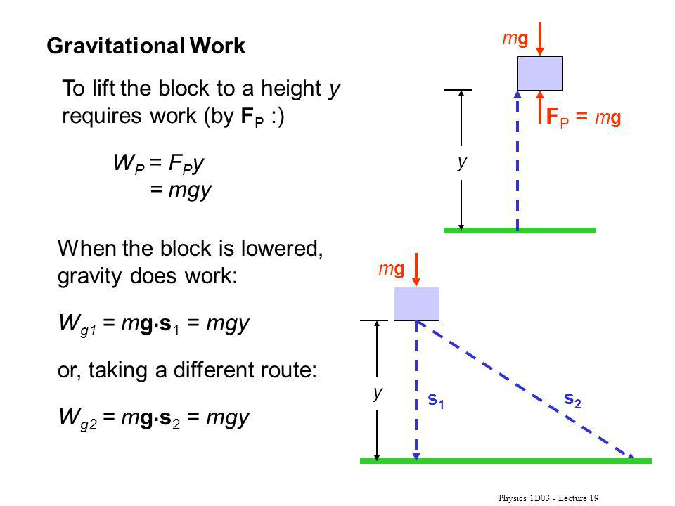Physics 1D03 - Lecture 19 Gravitational Work s2s2 y s1s1 mgmg When the block is lowered, gravity does work: W g1 = mg.