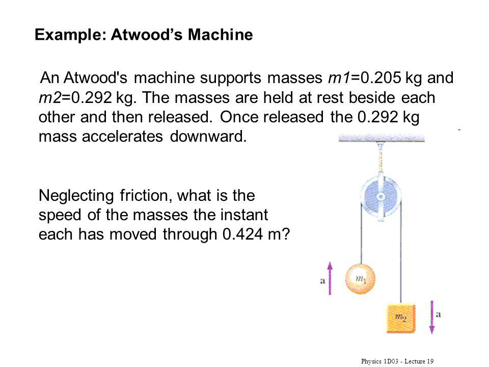 Physics 1D03 - Lecture 19 Example: Atwoods Machine An Atwood's machine supports masses m1=0.205 kg and m2=0.292 kg. The masses are held at rest beside