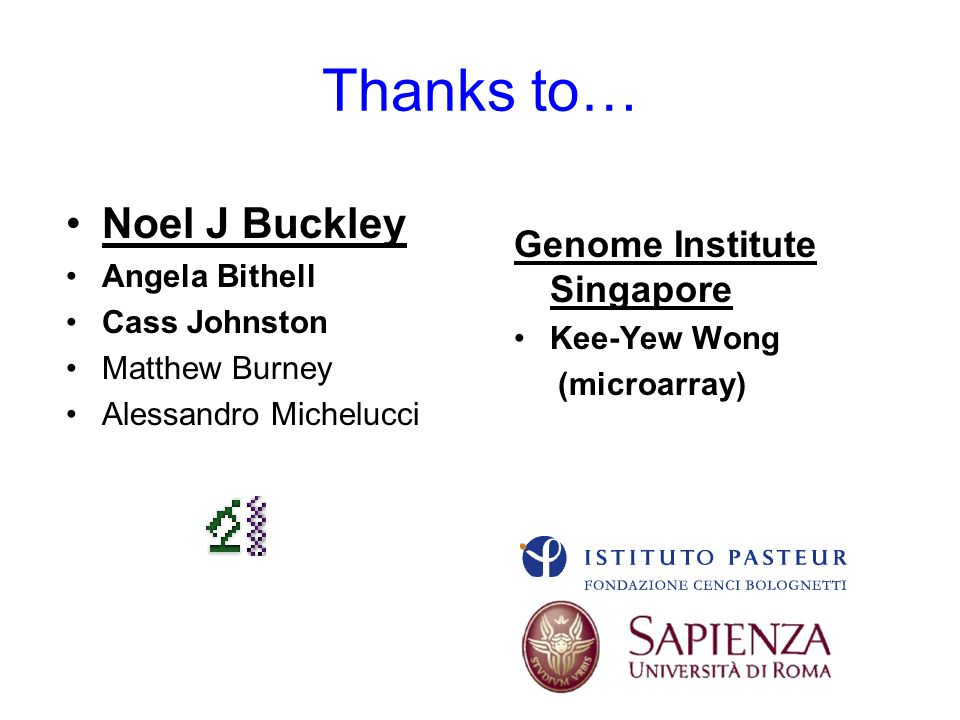 Thanks to… Noel J Buckley Angela Bithell Cass Johnston Matthew Burney Alessandro Michelucci Genome Institute Singapore Kee-Yew Wong (microarray)