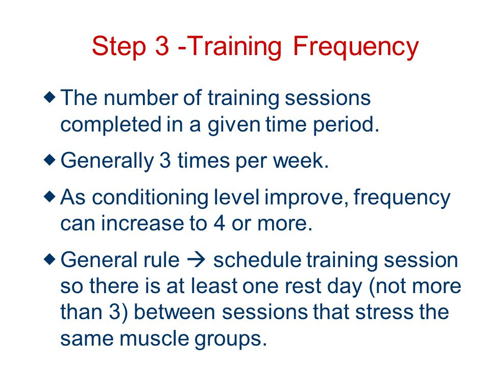 Step 3 -Training Frequency The number of training sessions completed in a given time period.