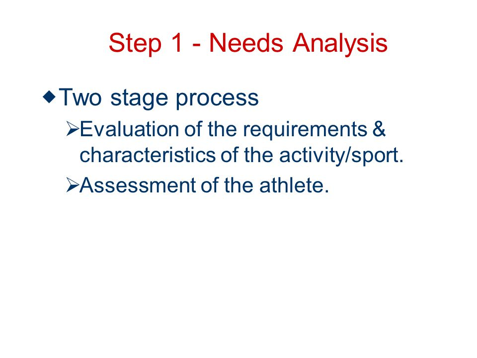 Step 1 - Needs Analysis Two stage process Evaluation of the requirements & characteristics of the activity/sport.