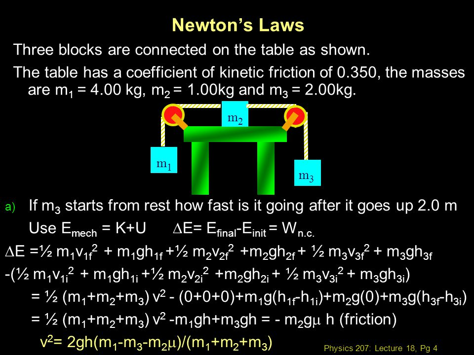 Physics 207: Lecture 18, Pg 4 Newtons Laws Three blocks are connected on the table as shown. The table has a coefficient of kinetic friction of 0.350,