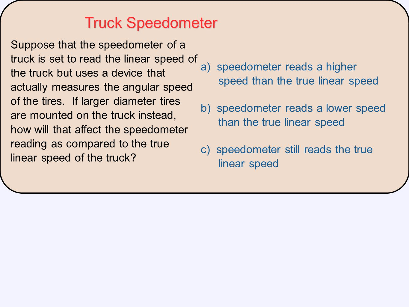 Suppose that the speedometer of a truck is set to read the linear speed of the truck but uses a device that actually measures the angular speed of the