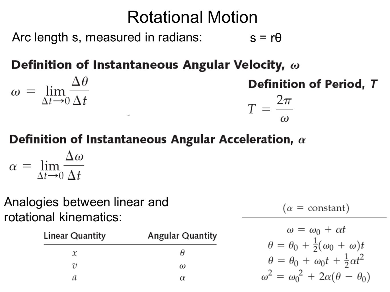 Arc length s, measured in radians: s = rθ Analogies between linear and rotational kinematics: Rotational Motion