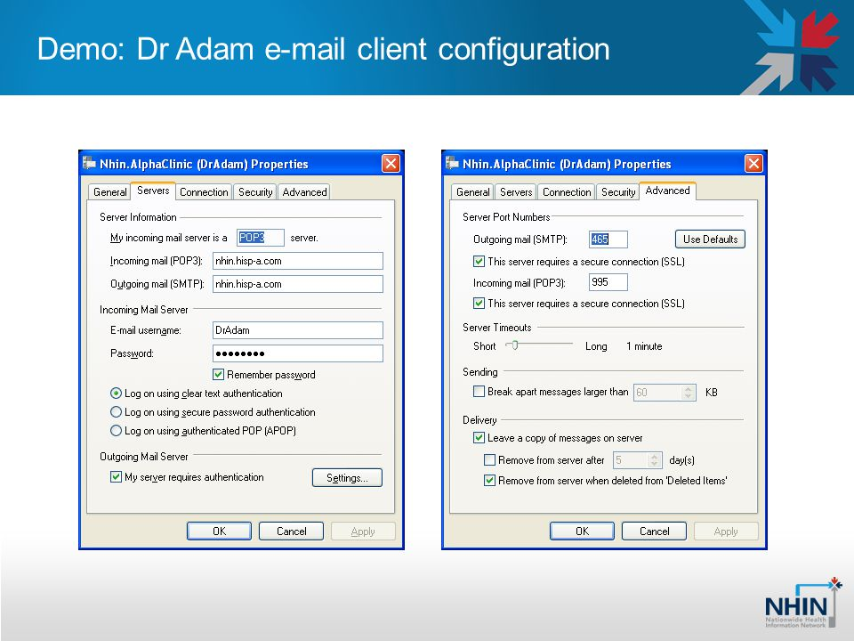 Demo: Dr Adam e-mail client configuration