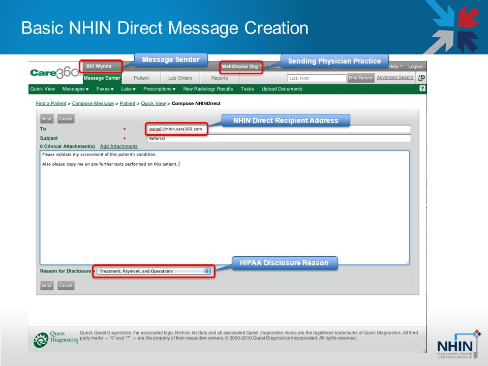 Basic NHIN Direct Message Creation HIPAA Disclosure Reason NHIN Direct Recipient Address Message Sender Sending Physician Practice